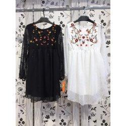 Vestido plumeti bordado pecho - Selected by AINE
