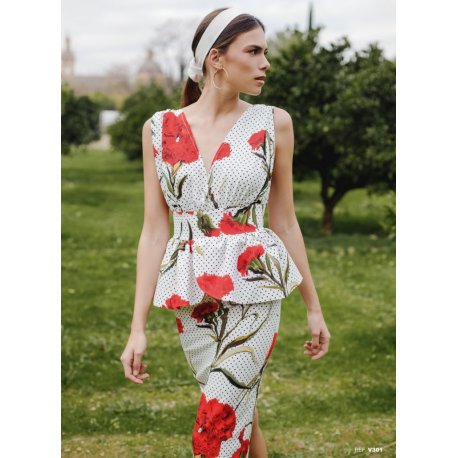 Vestido corte griego Peplum claveles - Selected by AINE