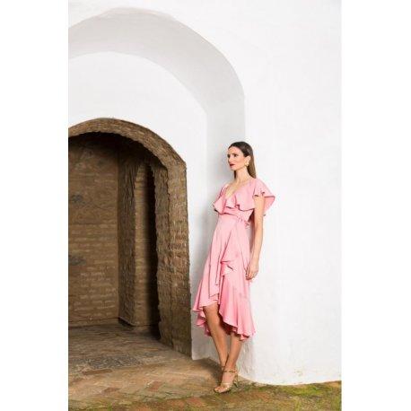 Vestido liso midi pareo volantes - Selected by AINE