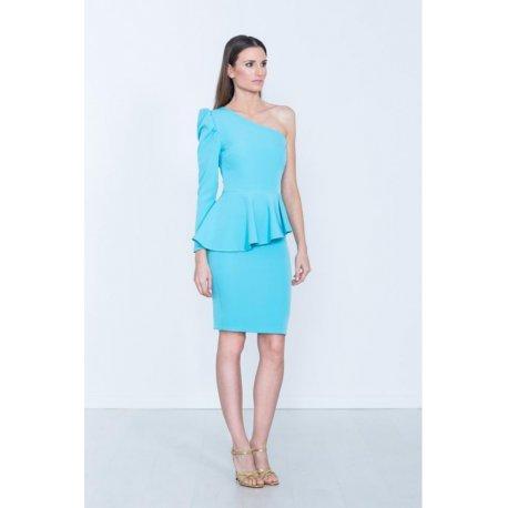 Vestido liso asimetrico volante cintura - Selected by AINE
