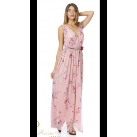 Vestido largo tull estampado - Selected by AINE