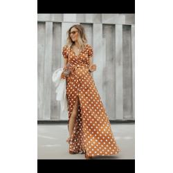 Vestido largo topos cruzado - Selected by AINE