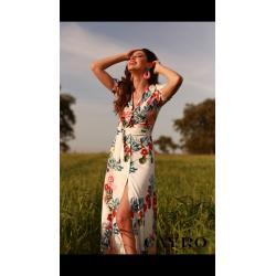 Vestido abotonado estampado manca corta - Selected by AINE