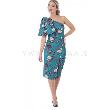 Vestido lazo hombro estampado - Selected by AINE
